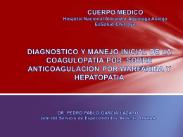 DIAGNOSTICO Y MANEJO INICIAL DE LA COAGULOPATIA …
