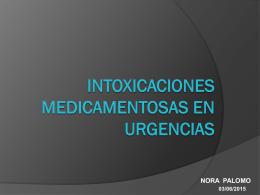 INTOXIACIONES (MEDICAMENTOSAS) EN URGENCIAS