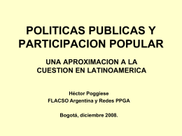 POLITICAS PUBLICAS Y PARTICIPACION POPULAR