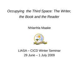 Occupying the Third Space: The Writer, the Book and the …