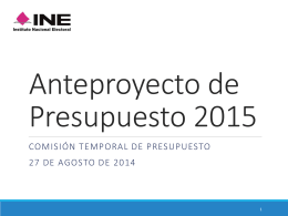 Anteproyecto de Presupuesto 2015