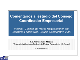 Avances en Mejora Regulatoria Federal