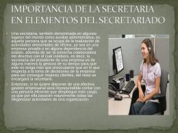 IMPORTANCIA DE LA SECRETARIA EN ELEMENTOS DEL …