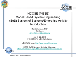 INCOSE MBSE System of Systems (SoS) Activity Update