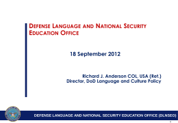 DEFENSE LANGUAGE AND NATIONAL SECURITY …