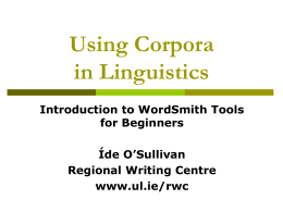 Using Corpora in Language Learning