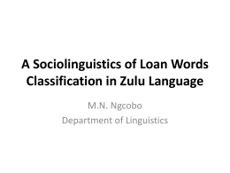 A Sociolinguistics of Loan Words Classification in Zulu
