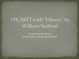 "TPCASTT with ""Fifteen,"" by William Stafford"