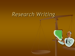 Research Writing - Metropolitan Community College