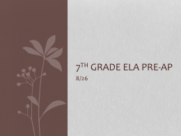 7TH Grade ELA Pre
