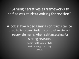 'Gaming narratives as frameworks for writing self …