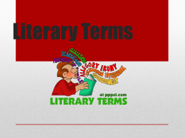 Literary Terms - Valley Central School District / Overview