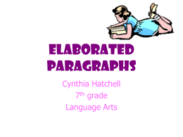 Elaborated Paragraphs - Powerpoint Presentations for …