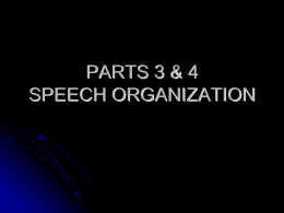 SPEECH ORGANIZATION - Napa Valley College