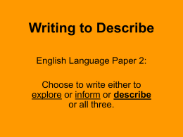 Writing to Describe - Wikispaces - lbec-english