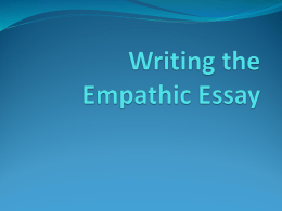 Writing the Emphatic Essay