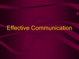 Effective Communication - Western Carolina University