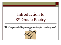 Introduction to 8th Grade Poetry