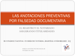 LAS ANOTACIONES PREVENTIVAS POR FALSIFICACION …
