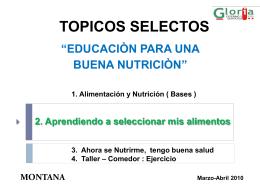 TOPICOS SELECTOS - ::Gloria Catering y Servicios::