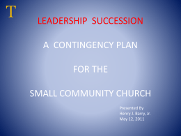 LEADERSHIP SUCCESSION A CONTINGENCY PLAN FOR …