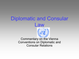 Diplomatic and Consular Law - Dipartimento di Scienze