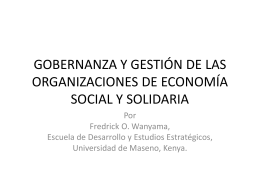 GOVERNANCE AND MANAGEMENT OF SOCIAL AND …
