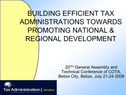 BUILDING EFFICIENT TAX ADMINISTRATIONS TOWARDS …