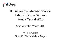IX Encuentro de estadisticas de genero Ronda Censal 2010