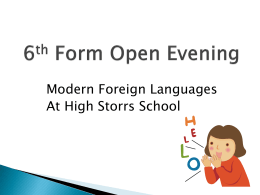 6th Form Evening - High Storrs School