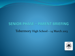 LEARNING COORDINATION - Tobermory High School