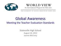 Global Awareness Meeting the Teacher Evaluation Standards