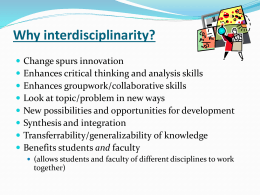Interdisciplinary, community-based research: Innovative