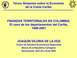FINANZAS TERRITORIALES EN COLOMBIA: El caso de los