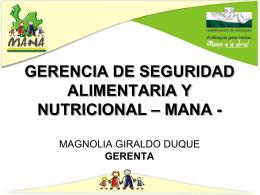 GERENCIA DE SEGURIDAD ALIMENTARIA Y NUTRICIONAL …