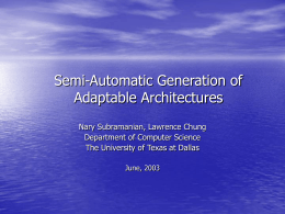 Adaptable Architecture Generation Using NFR Approach