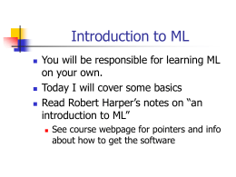 Introduction to ML - Princeton University Computer Science