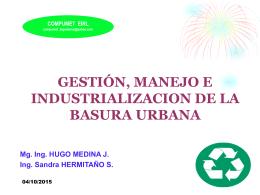 GESTION, MANEJO E INDUSTRIALIZACION DE RESIDUOS …