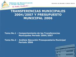 Comportamiento de las Transferencias Municipales 2004