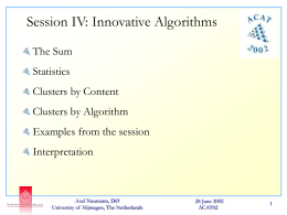 Innovative Algorithms - Outline