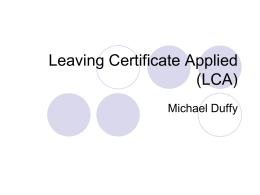 Leaving Certificate Applied (LCA) - Home