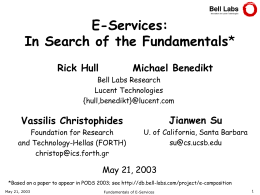 E-Services: In Search of the Fundamentals - ICS