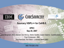 Sourcery VSIPL++ - MIT Lincoln Laboratory