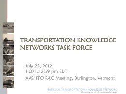 Transportation Knowledge Networks TF PowerPoint …