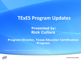TExES Exam Changes - Angelo State University