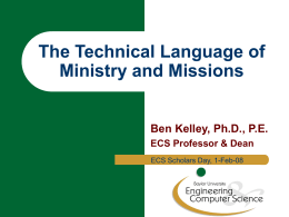 The Technical Language of Ministry and Missions