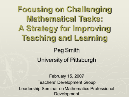 Focusing on Challenging Mathematical Tasks: A Strategy …