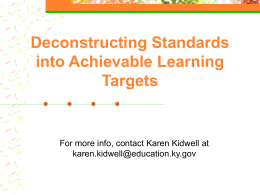 Deconstructing Standards into Achievable Learning …