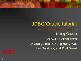 Oracle Tutorial PPT - New Jersey Institute of