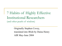 7 Habits of Highly Effective Institutional Researchers